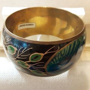 Brass Authentic Peacock Feather Bangle Bracelet